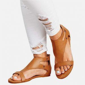 sandalias cuero mujer