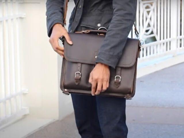 bolso cuero hombre